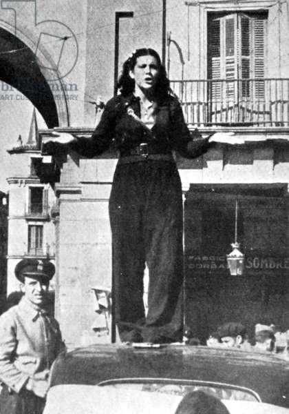 Spanish Civil War Republican militia female guard addressing a crowd