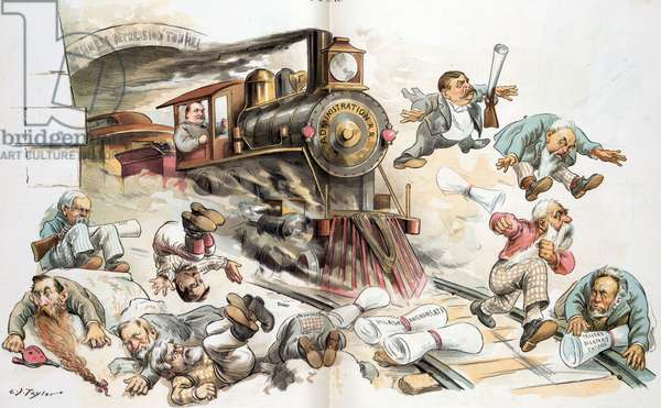 """President Cleveland as a railroad engineer driving a locomotive labelled """"Administration R.R."""", 1893"""