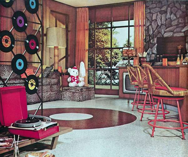 American domestic interior showing portable Vinyl Record player and discs