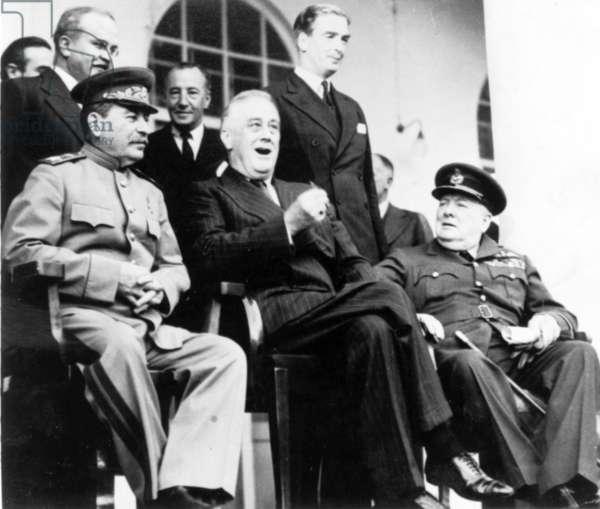 Stalin, Roosevelt & Churchill During Tehran Conference, Nov, - Dec, , 1943.