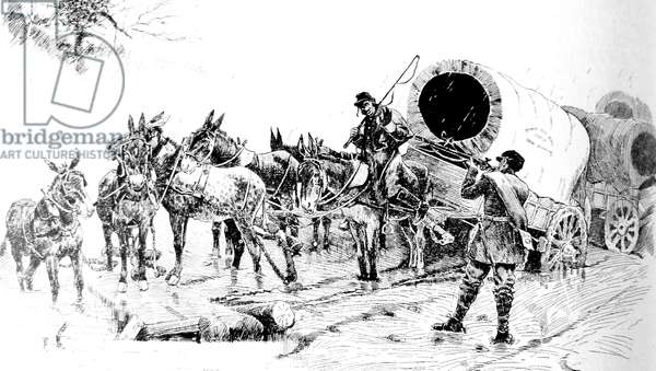 American Civil war-1861 1865 Ambush at a Union convoy