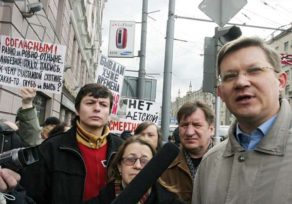 Russian State Duma Deputy Vladimir Ryzhkov (R) Seen During the 'March of Those Who Disagree' Staged by the Russian Opposition, April 16, 2007, Moscow, Russia.
