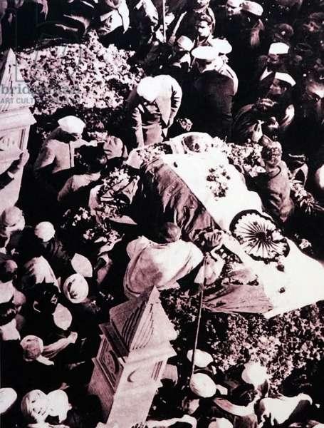 Mohandas Karamchand Gandhi at his cremation, India