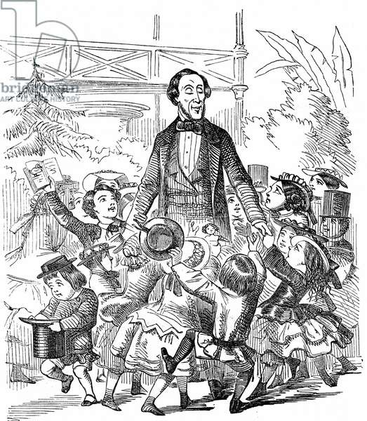 Hans Christian Andersen (1805-1875) Danish author, particularly remembered for his fairy tales. Andersen surrounded by children. Cartoon from Punch London 10 January 1857 celebrating his visit to Britain. Wood engraving