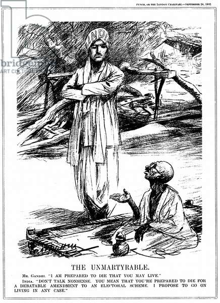 Mohondas Karamchand Gandhi  (1869-1948), known as Mahatma (Great Soul). Indian Nationalist leader.  Gandhi fasting in protest against the British government's proposal to segregate India's Untouchables, even to the extent of allotting them different electorates. Cartoon from Punch, London, 28 September 1932