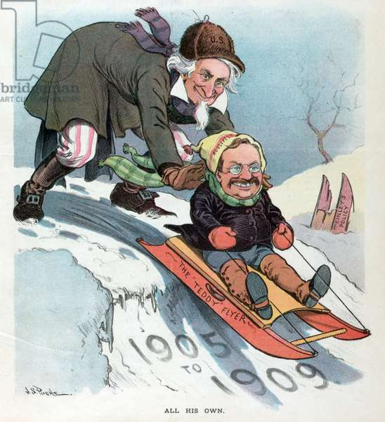 Uncle Sam pushing President Theodore Roosevelt on a sled, 1905