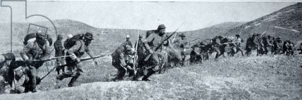 French soldiers in Battle in the Balkans during World War One, 1914-15 (b/w photo)