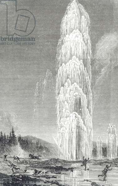 Engraving depicting the Great Geyser, Yellowstone, 19th century