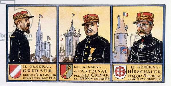 French World War One, Generals, Gouraud, Castelnau and Hirschauer