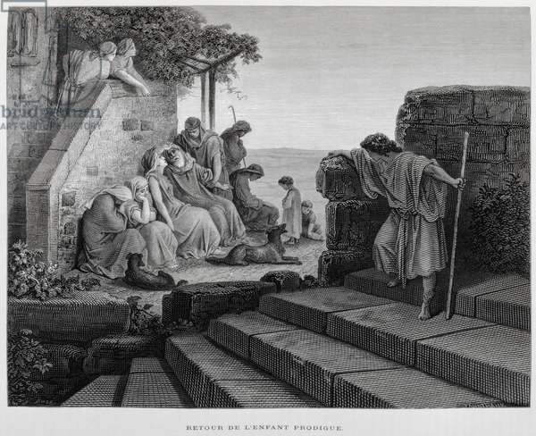 The return of the prodigal son, Illustration from the Dore Bible, 1866