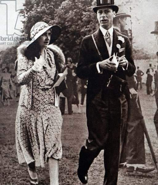 Prince Albert and Lady Elizabeth walking on the lawns of Ascot