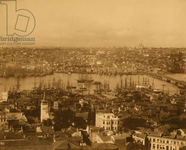 View of ?Istanbul and the Unkapan? Bridge from the Azap Kap?s? (gate) 1885 (photo)