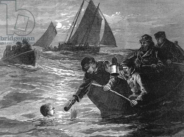 Captain Matthew Webb (1848-1883) English swimmer. First man to swim the English Channel, 24-25 August 1875. Took 21 3/4 hours to cross from Dover to Calais: Being handed sustenance from his support boat. Wood engraving, 1875.