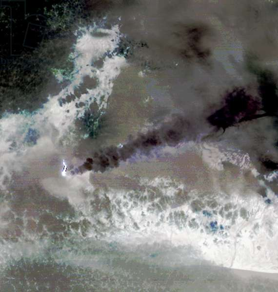 Images of Iceland's Eyjafyallajökull volcano on May 3, 2010. Figure 1 is a visible image and Figure 2 is in infared. Satellite image.