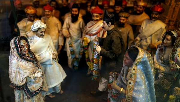 Diorama model showing the arrival of Mahatma Gandhi, India