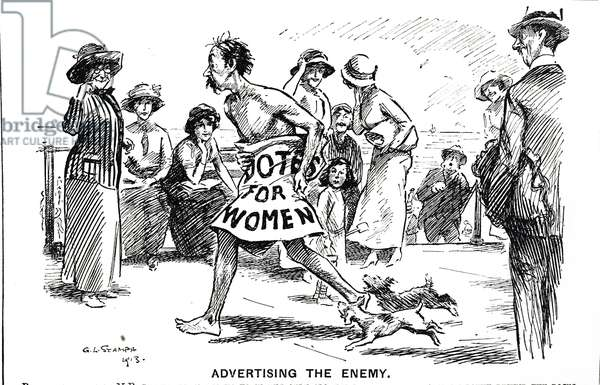 Cartoon commenting on the women's suffrage movement, 20th century
