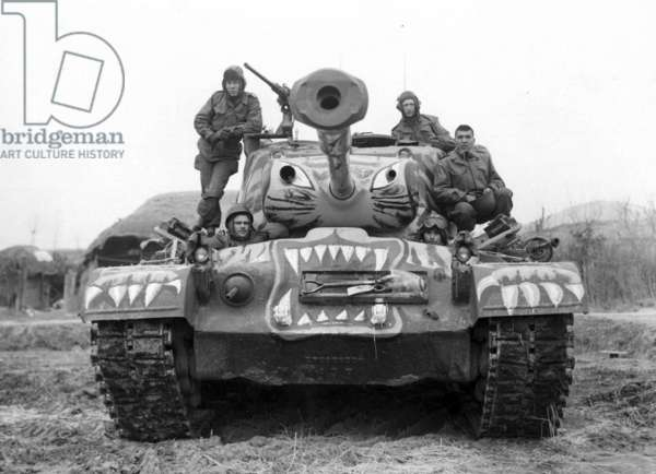 Soldiers Sat on a Painted M-46 Tank, 1951