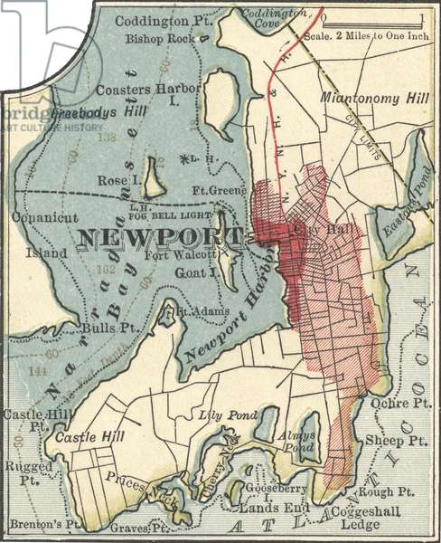 Inset map of Newport, Rhode Island
