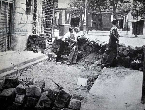 Street barricades in Barcelona during the Spanish Civil War 1937