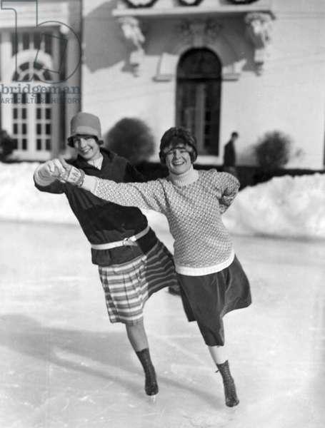 Society Ice Skating In Tuxedo, NY (b/w photo)