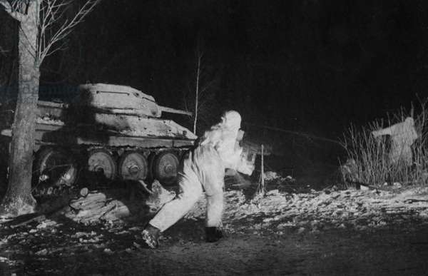 Red Army Troops and a T-34 Tank During a Night Engagement, World War 2, February 1944.