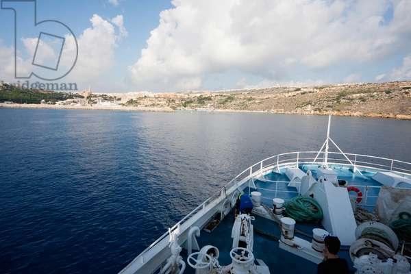 Gozo Ferry Approaching Mgarr, Gozo Island, Malta (photo)