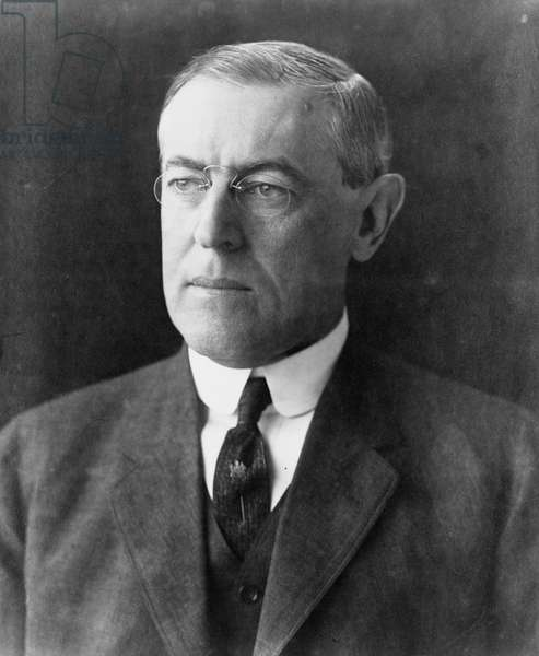 (Thomas) Woodrow Wilson (1856-1924) 28th President of the United States of America 1913-1921 throughout the First World War.  Suffered a severe stroke in October 1919 leaving him partially incapacitated.  Photographic portrait December 1912.