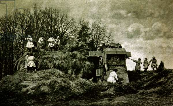 Girls undergoing instruction in land work at a rick