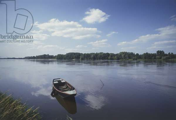 France, Loire Valley, Loire river, empty rowing boat in water