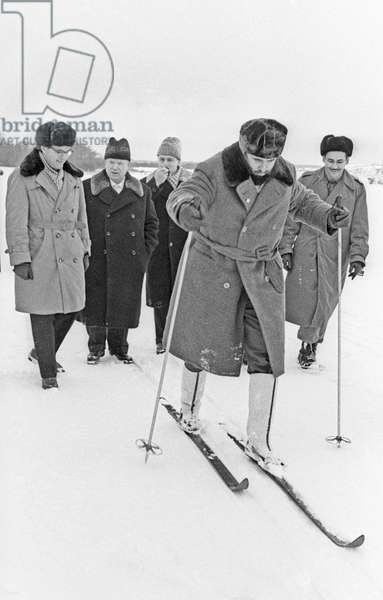 Nikita Khrushchev And Fidel Castro On Skis In The Countryside