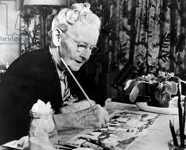 Grandma Moses Painting (b/w photo)