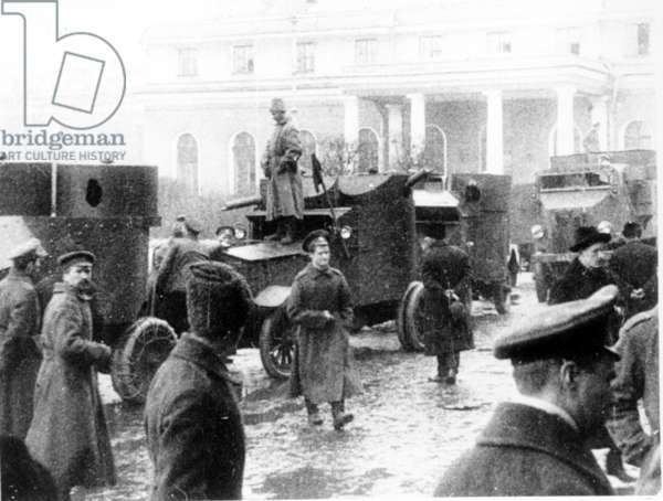 The Red Guards with Armored Cars During the Days of the Great October Revolution, 1917.