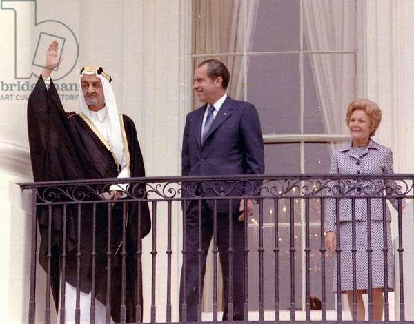 King Faisal Ibn Abd Al-Aziz of Saudi Arabia, President Nixon, Mrs Nixon.
