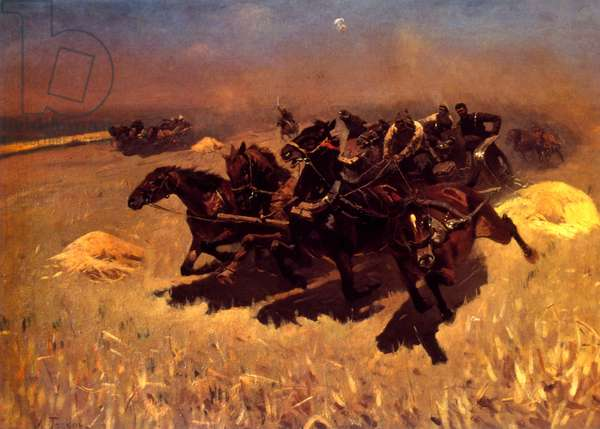 Russian carriage racing, 1925, painted by Mitrofan Grekov (1882-1934), Russian painter
