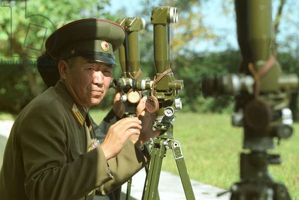 North Korean Border Guard on the Frontier with South Korea at an Observation Post, 2002.