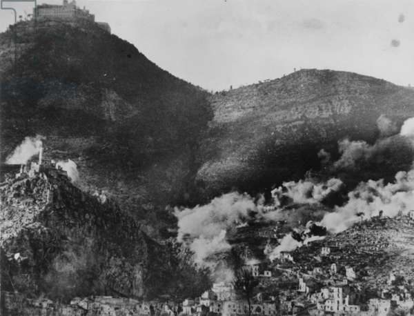 The Town of Cassino Heavily Damaged by Shelling, 1942 (b/w photo)