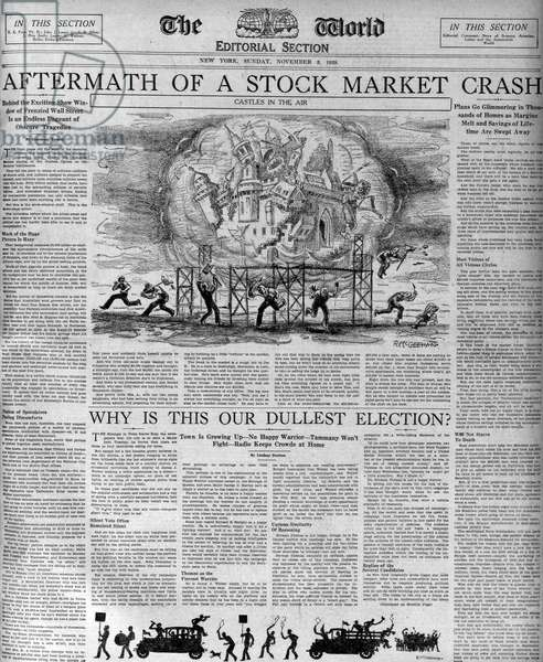 The (Wall Street) stock market crash 1929 depicted in a newspaper of the period