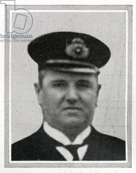 "Herbert Fitzhugh Walter McElroy, Chief Purser of RMS Titanic, was born 28th October 1874 in Liverpool.  Purser Hugh McElroy had been in White Star's service for some thirteen years and had served for three years on board the troopship """"Britannic"""" during the Boar War. He signed on the Titanic on the 9th April 1912 as Chief Purser on a salary of £20 per month.  He helped load passengers in to the lifeboats when Titanic was sinking.  Purser McElroy was last seen standing on the Boat-Deck near the gymnasium, beside mail clerk Mr William Logan Gwinn, both men died in the sinking of the Titanic. Titanic was built by Harland & Wolff in Belfast Ireland during 1910 - 1911, and sank on 15ht April, 1912, after striking an iceberg off the coast of New Foundland during her maiden voyage from Southampton, England to New York, USA, with the loss of 1,522 passengers and crew. (Photo by Titanic Images/Universal Images Group) Photographie ©UIG/Leemage"
