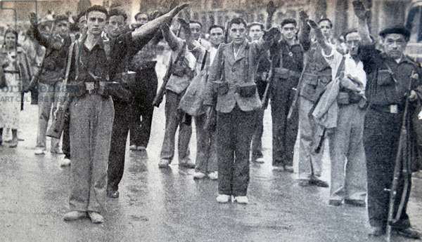 Falangist soldiers salute in a gathering in Pamplona