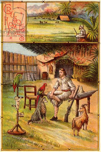 The Life and Strange Surprising Adventures of Robinson Crusoe by Daniel Defoe. First published in 1719, it is claimed to be the first English novel. Crusoe, surrounded by his pets, outside the cave he has made his home and protected by a stockade. At to the top is a tent on a grassy plateau he used as a summer residence. From Bubbles c1900 published by Dr Barnados Homes for Children. Oleograph.