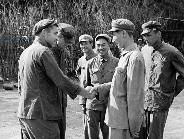 Korean War. After the news of the signing of the Korean Armistice Agreement arrives at Camp No. 2, American POW James R. Witt thanks the camp authorities for the efforts the Koreans and Chinese have made for the armistice. August 11, 1953. ©Sovfoto/UIG/Leemage