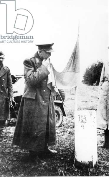 In World War Ii, General Svoboda Commander Of The Czechoslovak Army Corps Fighting On The Eastern Front, Kissing A Czechoslovak Flag Now Flying From The Same Spot Where The German Had Put Up A Frontier Post.