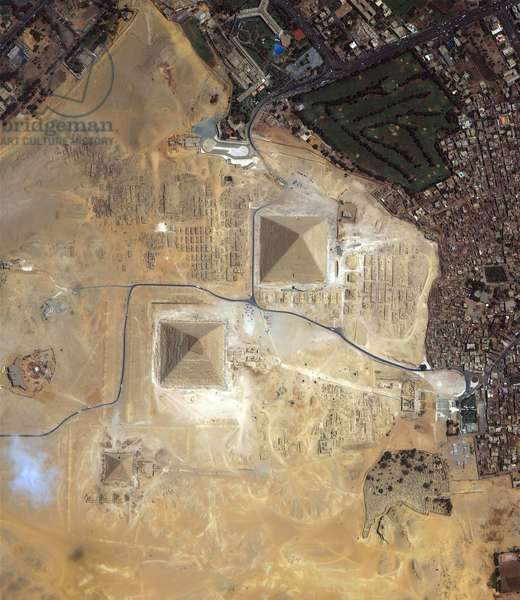 Satellite view of the Pyramids of Giza, Egypt. Credit NASA.
