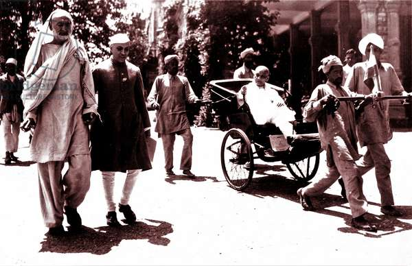 Congress party official Ghaffar Khan with Mahatma Gandhi, 1935