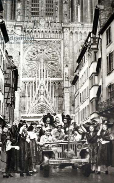 Celebrations in Strasbourg after liberation from German occupation in World War Two