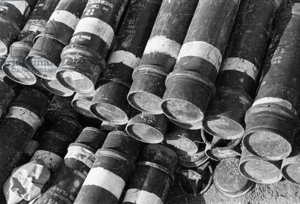 Korean War. American 155mm howitzer shells captured by the Chinese People's Volunteers during the Battle of Wensan
