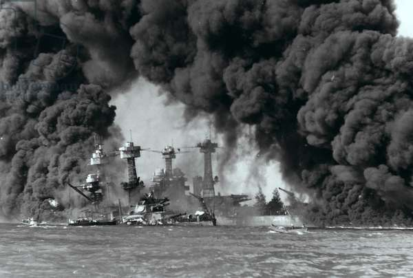 Battleships burning after the attack on Pearl Harbour, 1941