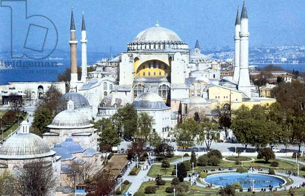 Hagia Sophia, Cathedral with domed basilica built under direction of Justinian I AD 530-537: Architects Anthemius of Tralles and Isidore of Miletus, Istanbul, Turkey