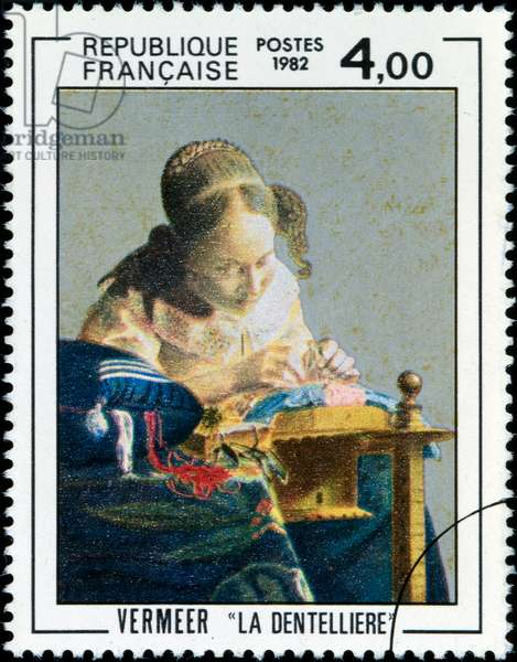 French postage stamp depicting the painting 'The Lace maker' by Jan Vermeer. 1982