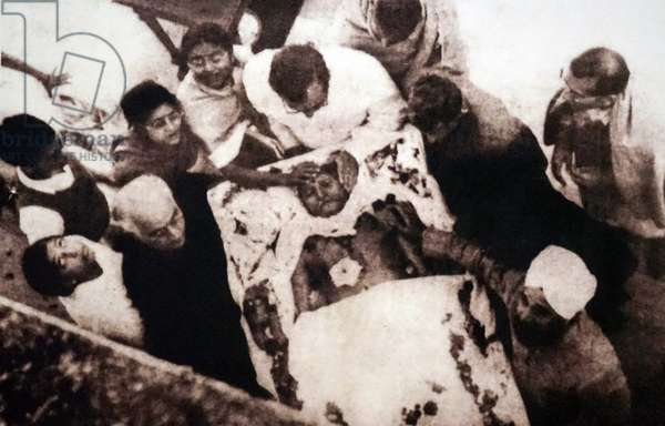 Mohandas Karamchand Gandhi at his cremation following his assassination in 1948, India